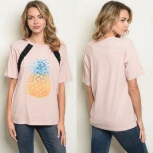 Short Sleeve Lace Up Detail Pineapple Print …